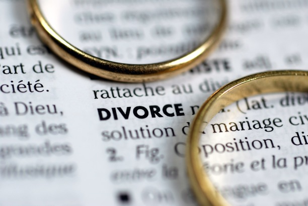 A dictionary showing the word 'divorce' with two wedding rings on top.