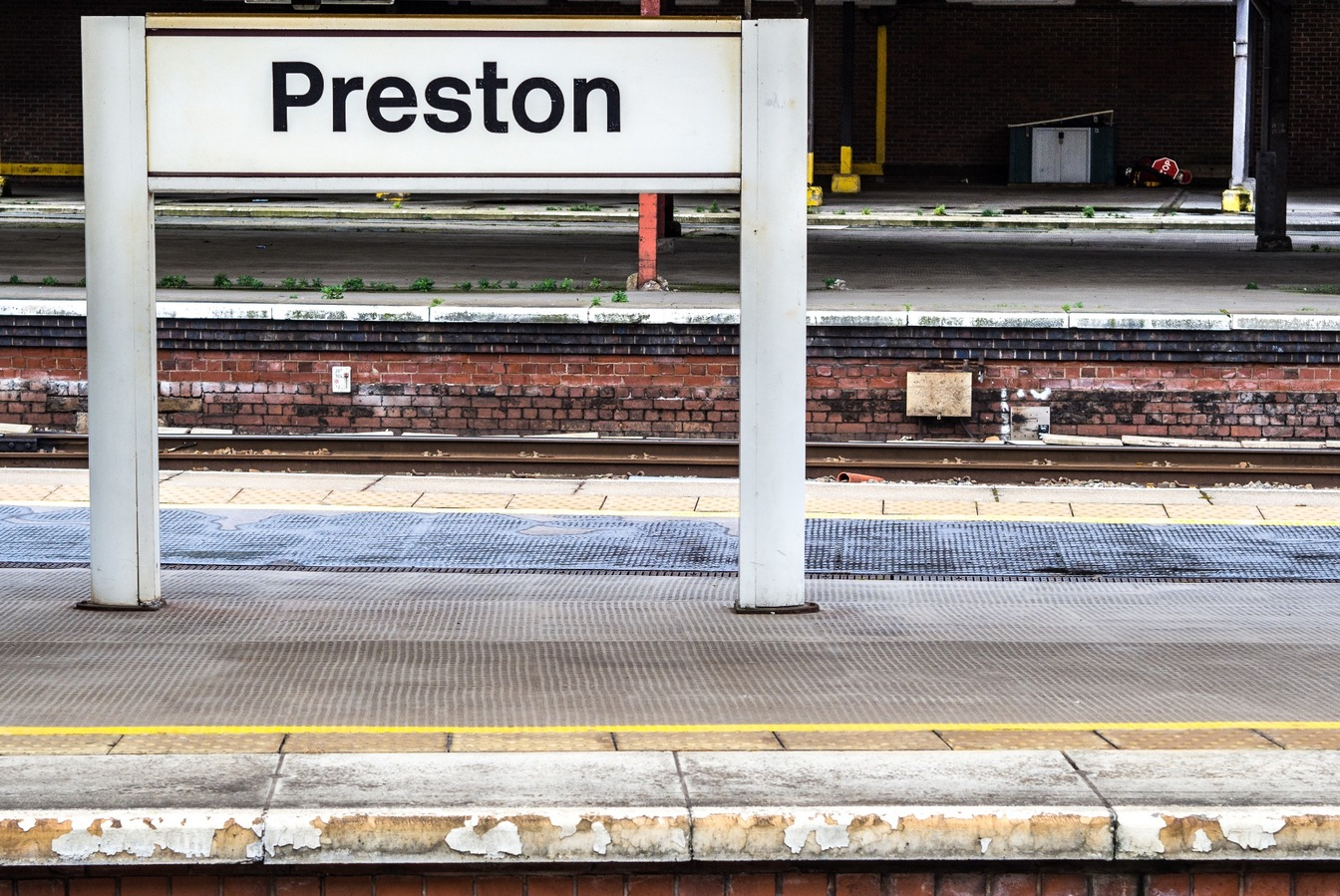 'Preston' sign in Preston train station