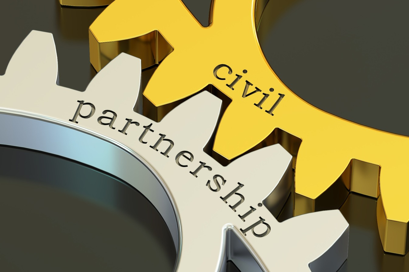 Two intertwined cogs; one saying Civil, the other saying Partnership.