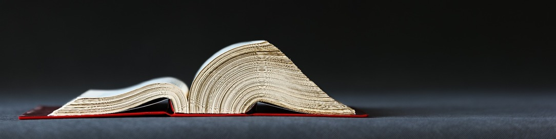 A large open book, with a red cover, on a grey background.