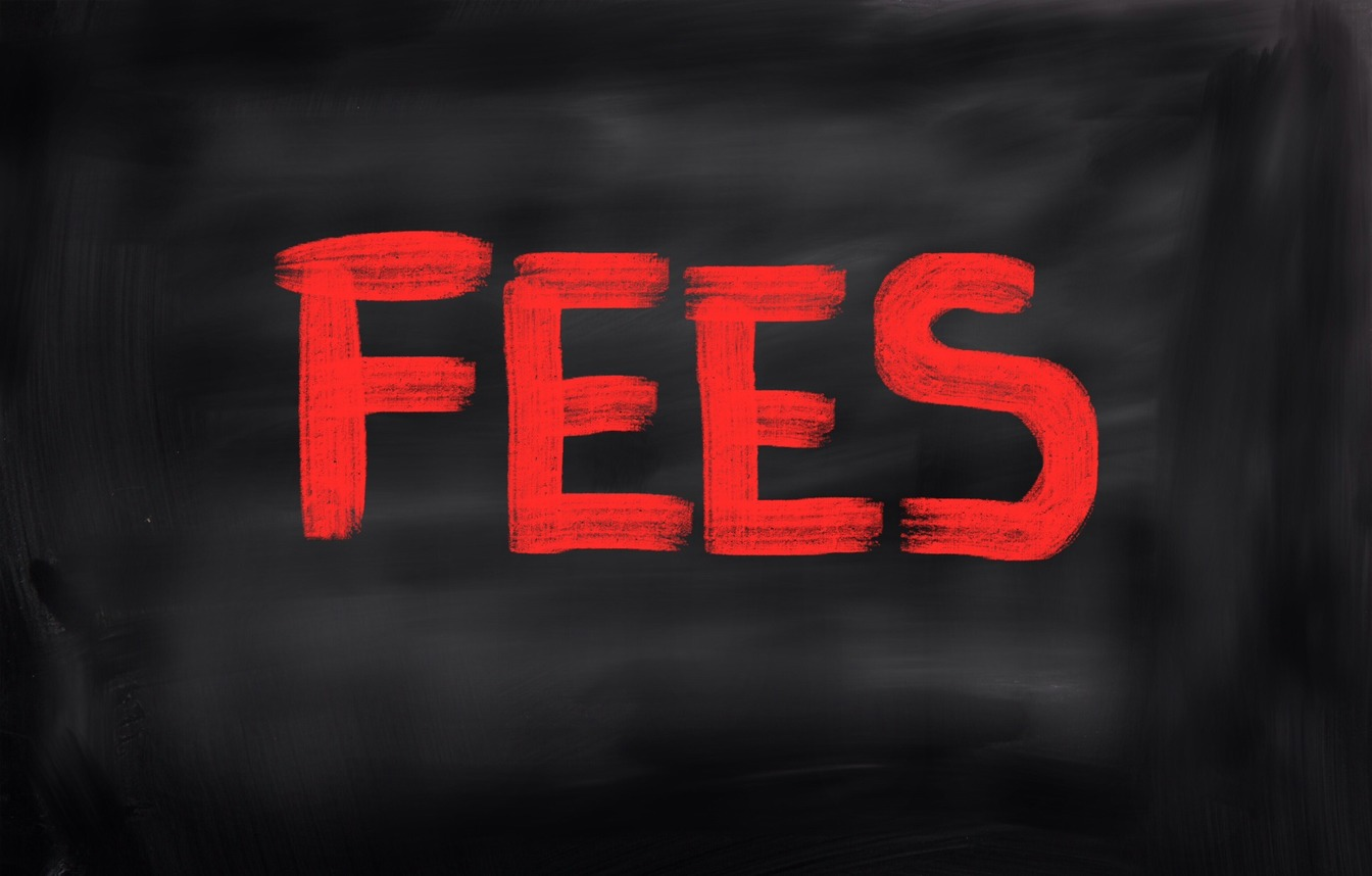 Fees in bold red capitalized