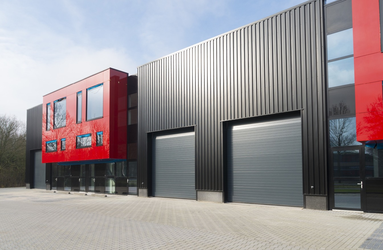 Commercial building with red and black cladding
