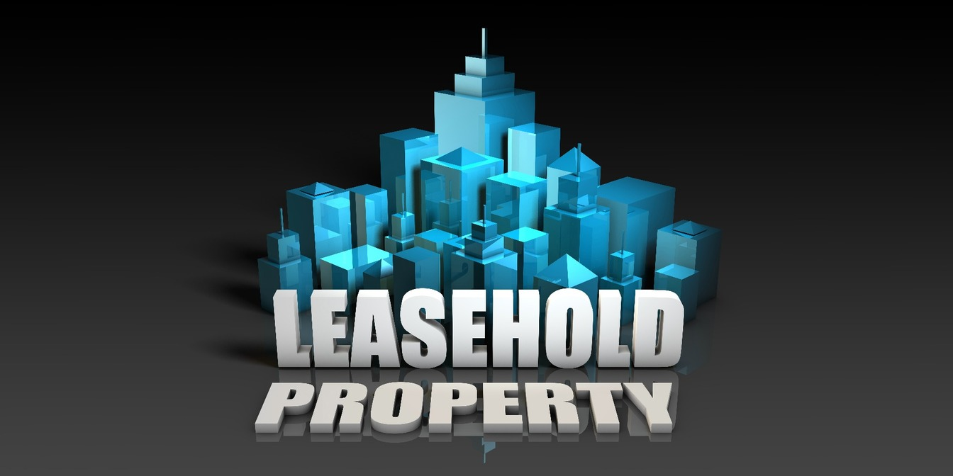 Leasehold Property written in front of a central business district