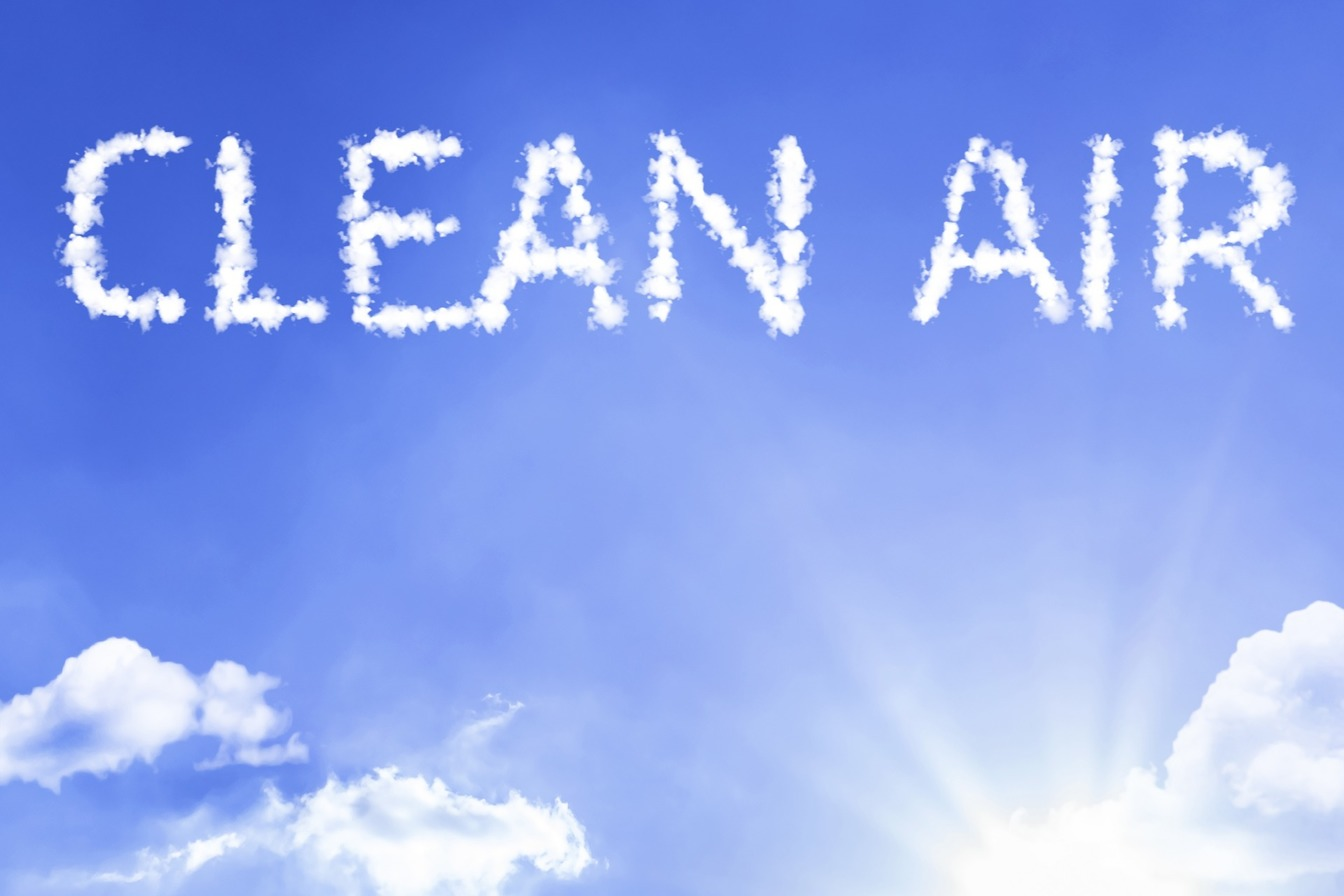 A blue sky with no Air Pollution, with 'Clean Air' written in cloud
