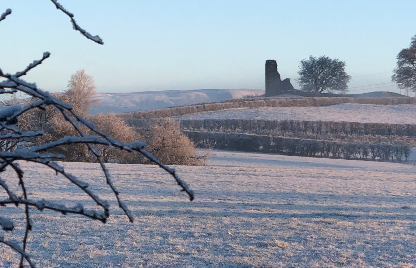 A beautiful, frosty view of Greenhalgh Castle, Garstang