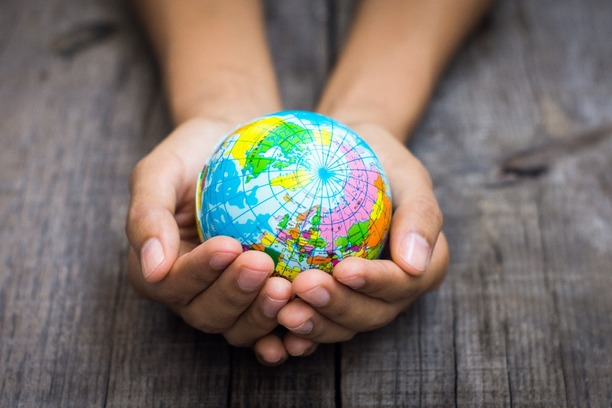 A pair of hands holding a miniature globe.