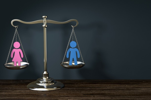 The scales of justice, balancing one person on either side.