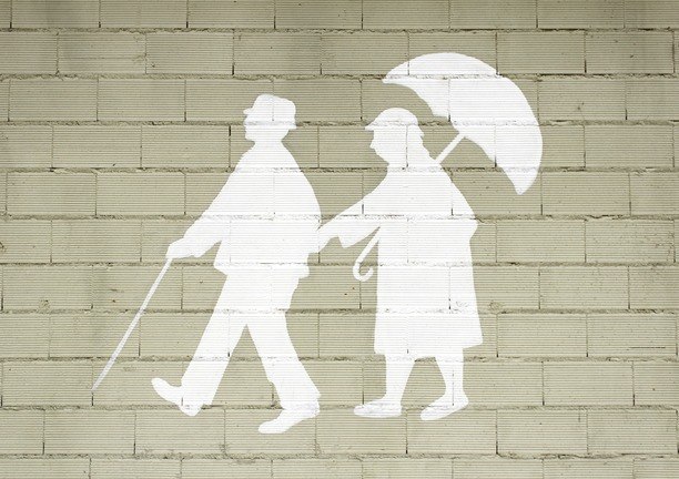 A painting of two people, one with a walking stick and the other holding an umbrella.