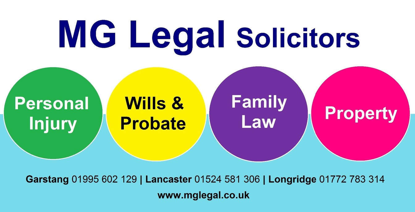 MG Legal Solicitors Design with four 'balls' stating 'Personal Injury', Wills & Probate, Family Law and Property.  The contact numbers for Garstang Lancaster and Longridge and the web address.