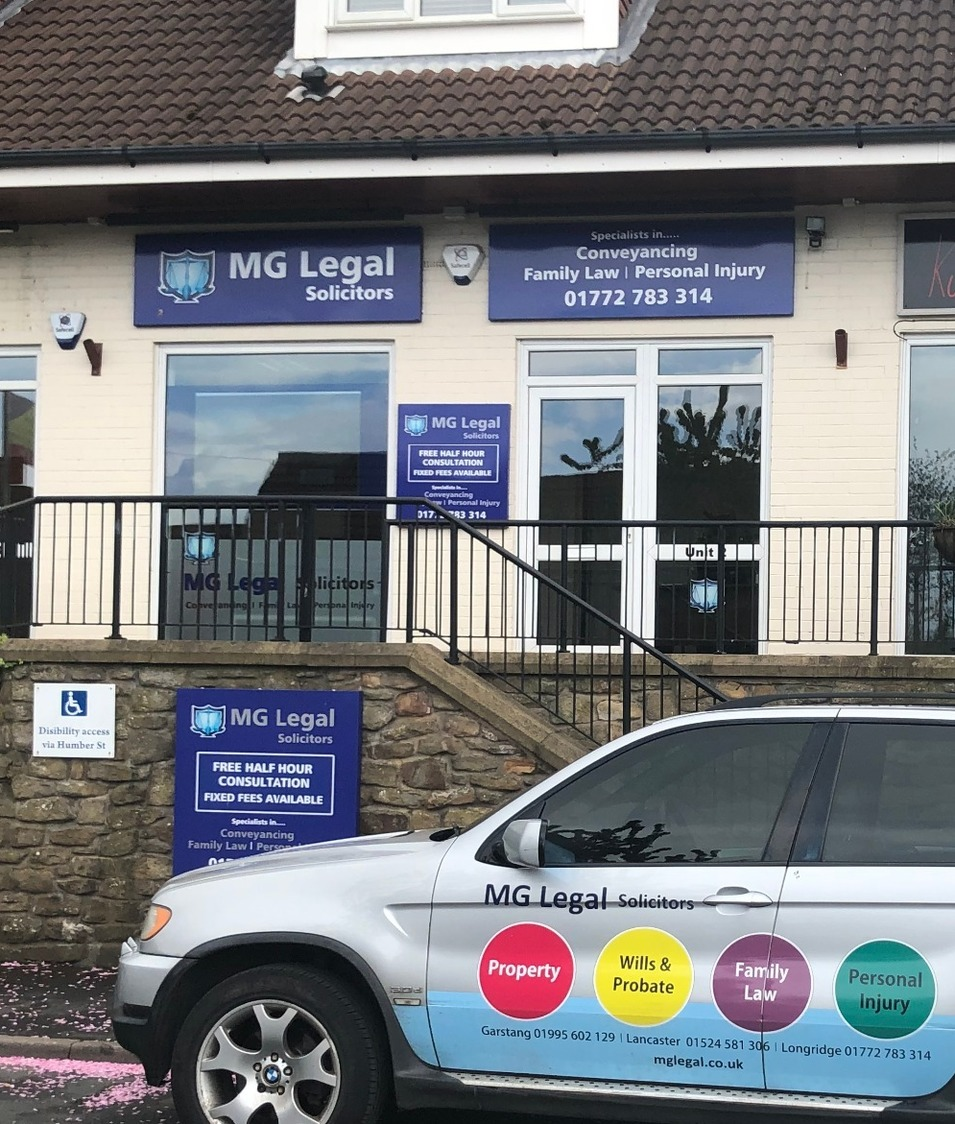 The exterior of the Longridge office showing MG Legal's blue signs and the information our client's might need