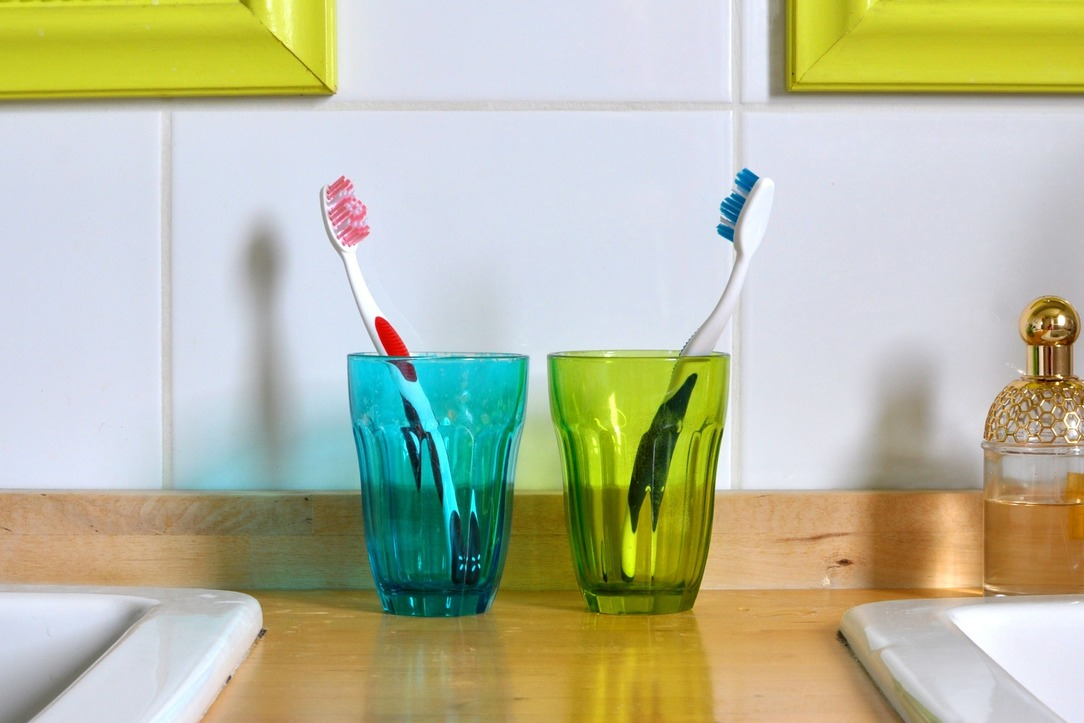 Two tooth brushes in two different pots.