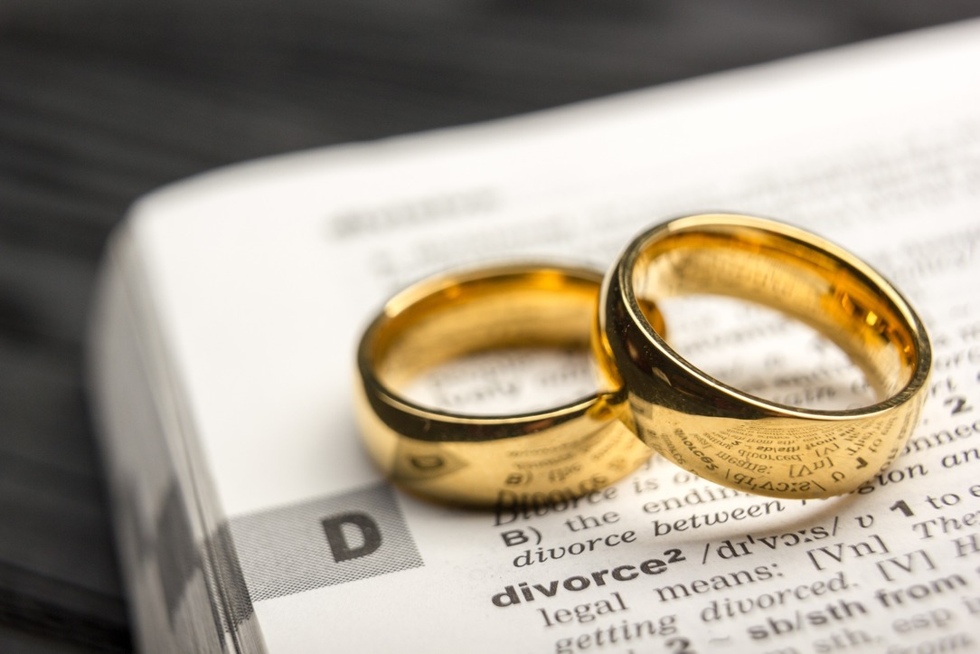 A dictionary showing 'Divorce' with two wedding rings resting on top.
