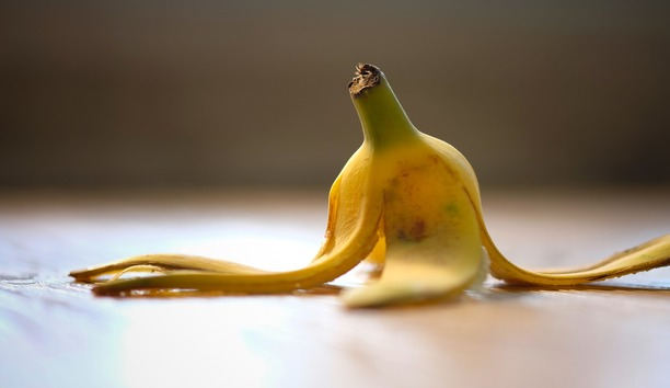 A banana peel which has been left on the floor as an obstruction.