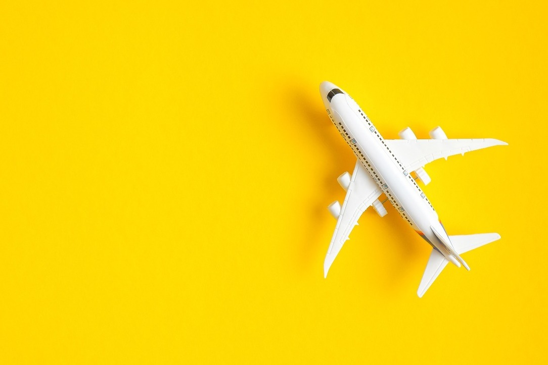 A toy aeroplane against a white background.