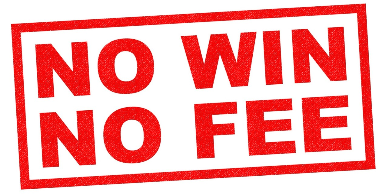 """No Win, No Fee"" in big, red text in a stamp-style"